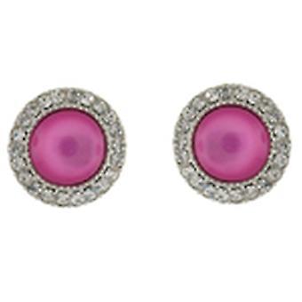 Clip op oorbellen winkel Glam vloeibare roze steen en kristallen cirkel knop Clip op