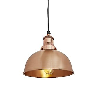 Brooklyn Vintage Small Metal Dome Pendant Light - Copper - 8