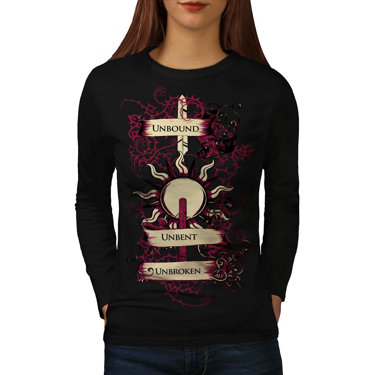 Unbound Unbroken Sun Unbent Women Black Long Sleeve T-shirt | Wellcoda