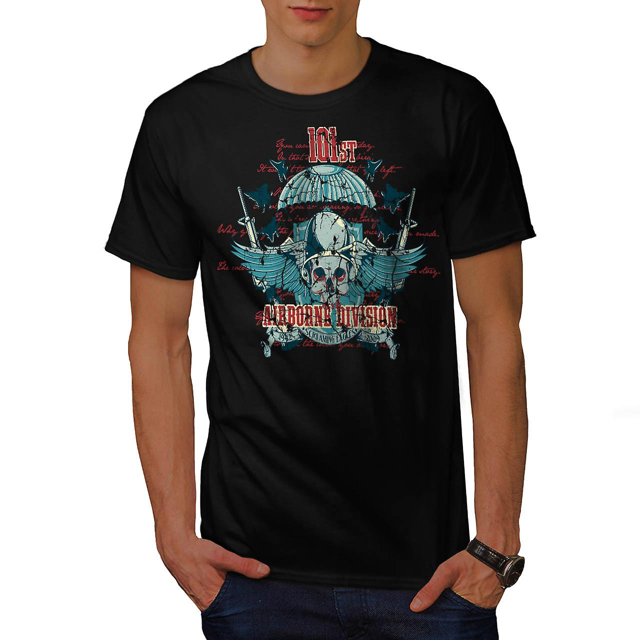 Airborne Division Fly War Flight Men Black T-shirt | Wellcoda