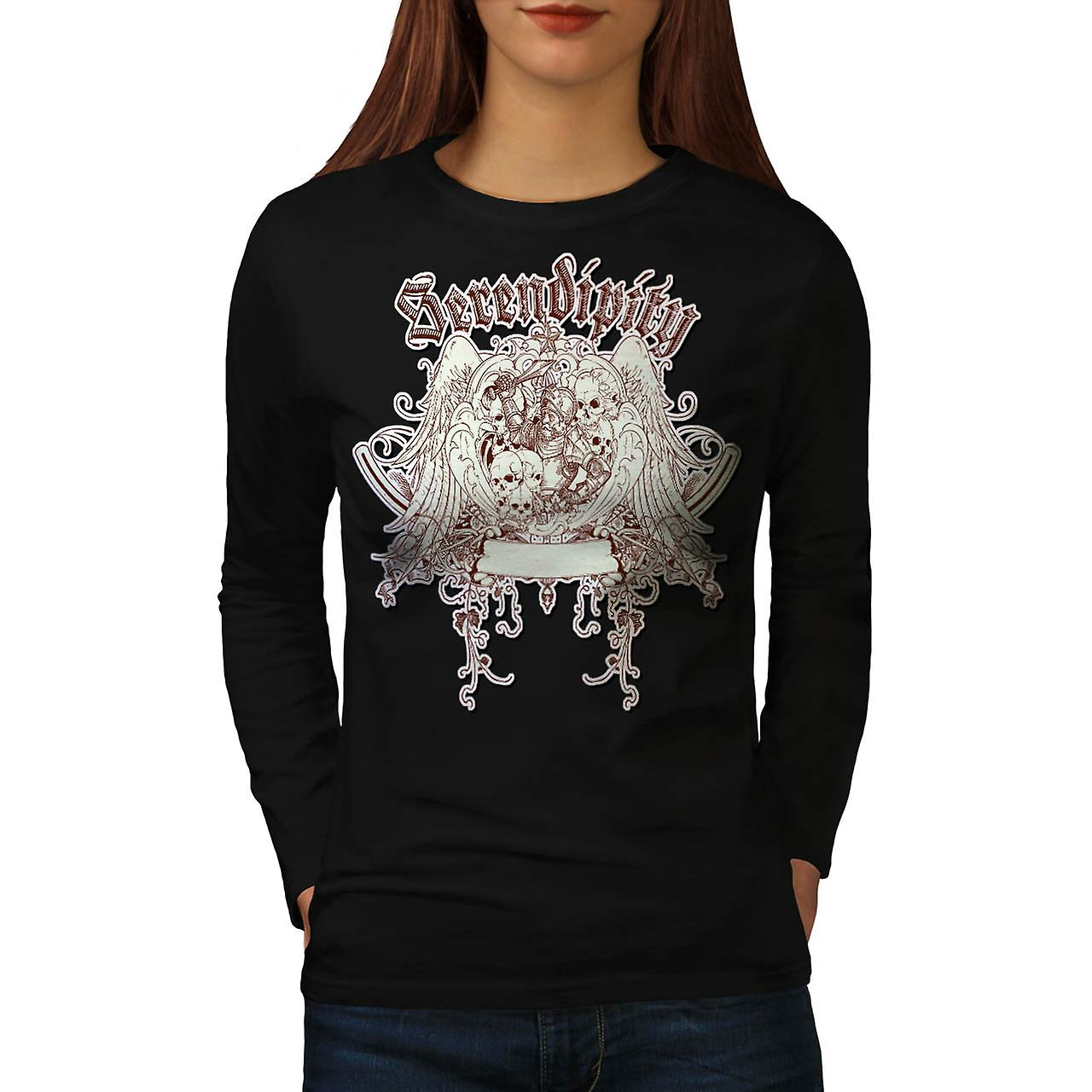 Serendipity Discover Grave Yard Women Black Long Sleeve T-shirt | Wellcoda