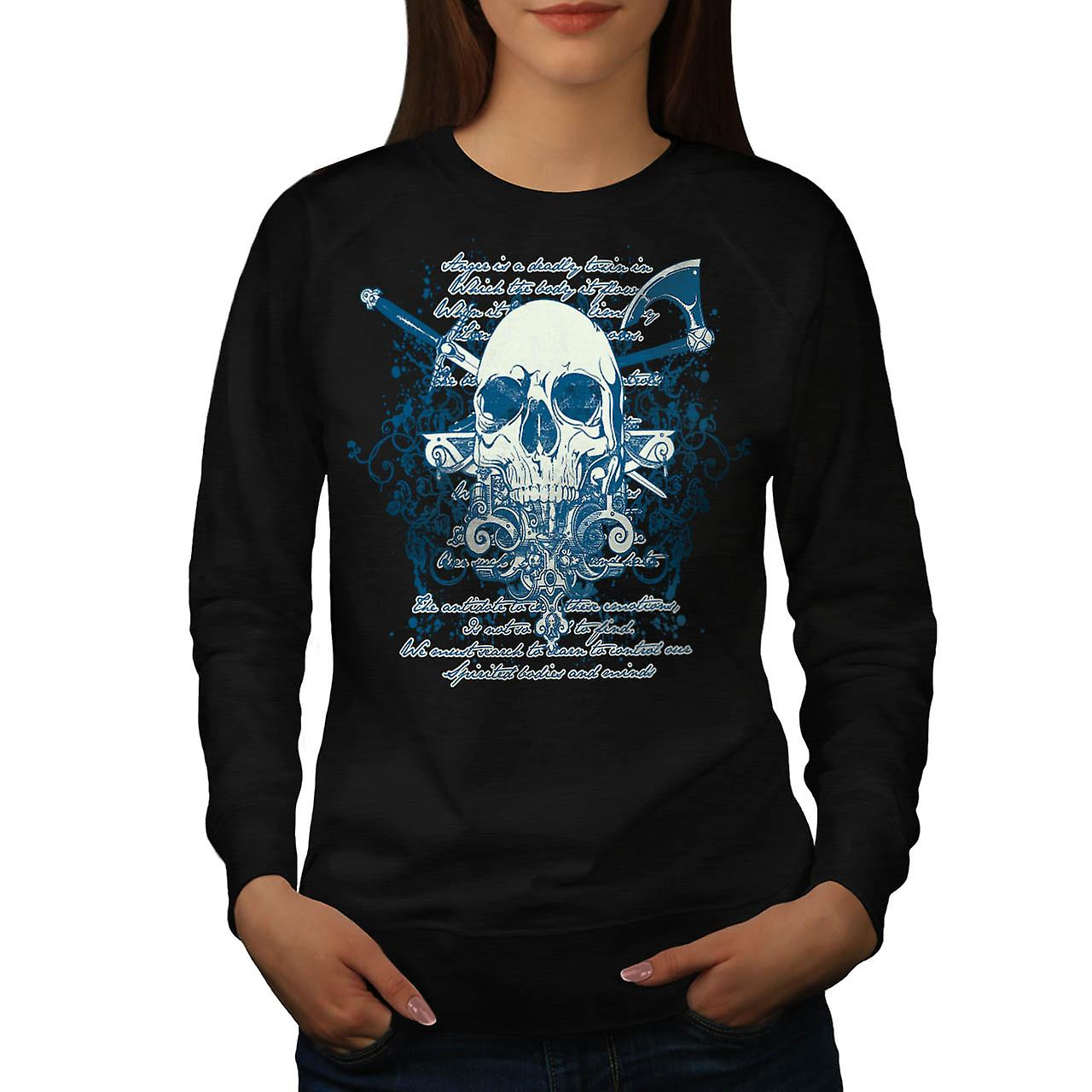 Death Skull Script Monster Death Women Black Sweatshirt | Wellcoda