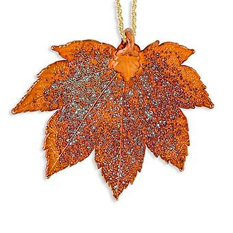 Iridescent Copper Dipped Full Moon Maple Leaf With Gld-pltd Chain Necklace - 20 Inch