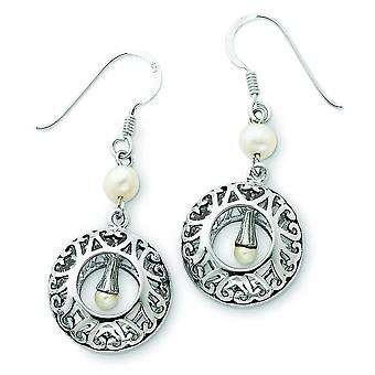 Sterling Silver Freshwater Cultured Pearl and Antiqued Earrings