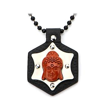 Men's black leather stainless steel of Red Jasper pendant