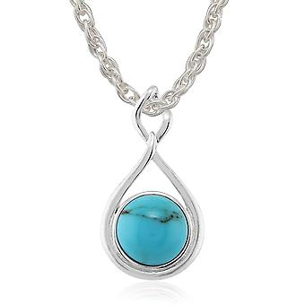 925 Sterling Silver 2.00ct Turquoise Cabochon Contemporary Pendant on 45cm Chain