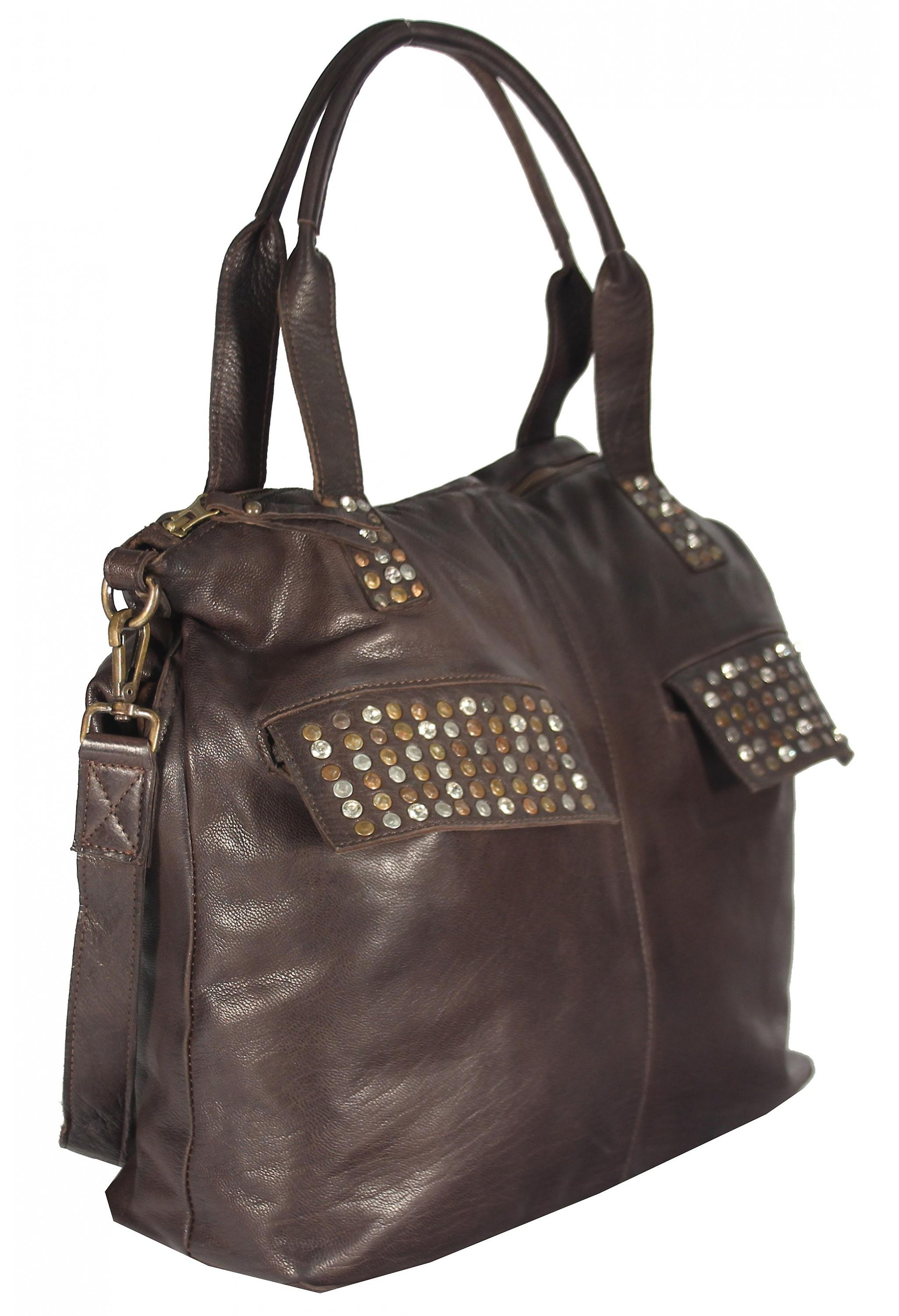 Tholisa - large leather of shopper bag rivets rhinestones Tote
