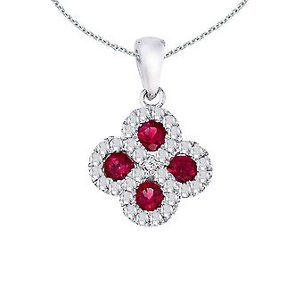 Ruby Clover Diamond Pendant in Sterling Silver with 18in Chain