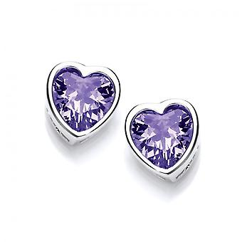 Cavendish French Take Heart Amethyst CZ Stud Earrings