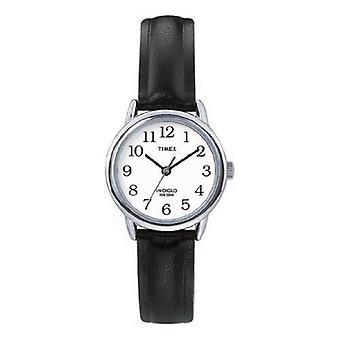 Timex T20441 Women Black Leather Strap Watch
