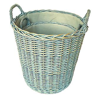 Set of 2 Heavy Duty Provence Lined Log Baskets