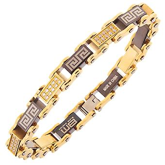 Iced out stainless steel micro pave CZ bracelet - 10mm gold