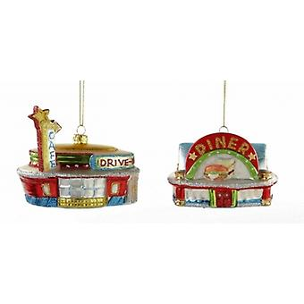 Retro Look Roadside Drive In Cafe Diner Christmas Holiday Ornaments Set of 2