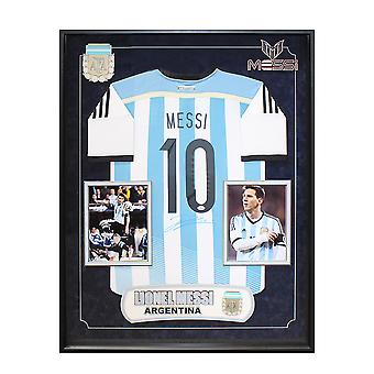 Lionel Messi Autographed Argentina Team Jersey Wood Framed with COA