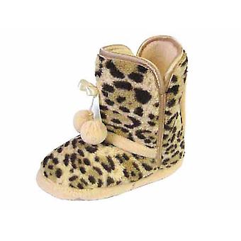 Girls COOLERS Leopard Style Padded Insole Bootee Slipper