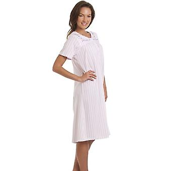 Camille Womens Lilac Striped Short Sleeve Nightdress