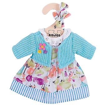 Bigjigs Toys Turquoise Rag Doll Cardigan and Dress for 28cm Soft Doll
