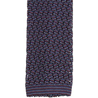 KJ Beckett Suzy Chevron Silk Tie - Wine/Navy/Steel Grey