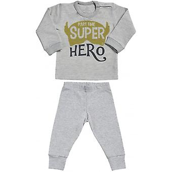 Spoilt Rotten Part Time Super Hero Sweatshirt & Jersey Trousers Baby Outfit Set