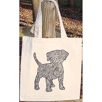 Stamped Canvas Tote To Color-Dog 98112T