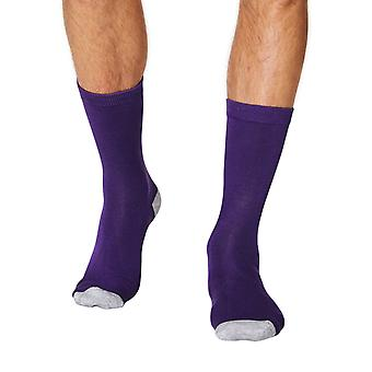 Solid Jack men's soft plain bamboo crew socks in purple | By Thought