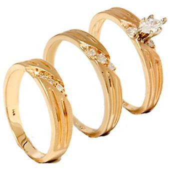 1 / 4ct Diamant passenden Trauring Trio Set 14K Gold