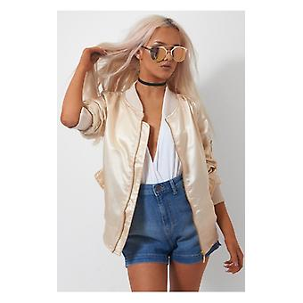 The Fashion Bible Gigi Champagne Satin Bomber Jacket