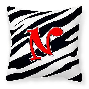 Monogramm anfängliche N Zebra rot dekorative Canvas Stoff Kissen CJ1024