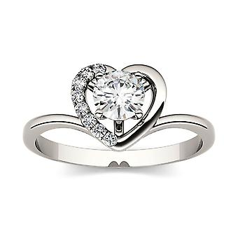 Forever Brilliant Round 5.0mm Moissanite Heart Ring-size 7, 0.58cttw DEW