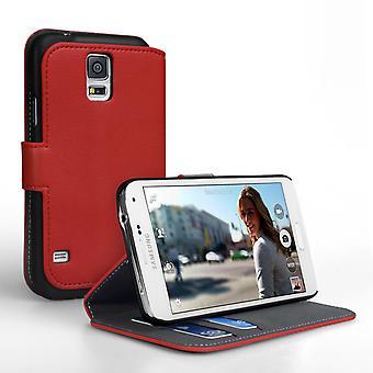 Yousave Zubehör Samsung Galaxy S5 PU Geldbörse stehen Fall – rot