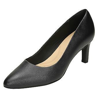 Panie Clarks teksturowanej Court buty Calla Rose - czarne skórzane - UK rozmiar 7.5E - UE rozmiar 41.5 - USA rozmiar 10W