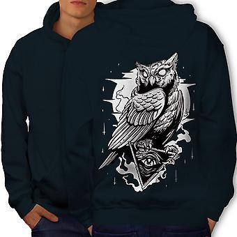 Triangle Owl Men NavyHoodie Back | Wellcoda