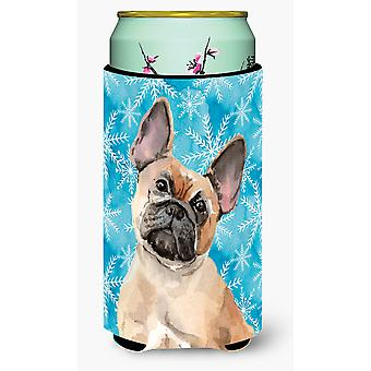 Bulldog francese fulvo inverno Tall Boy Beverage isolante Hugger
