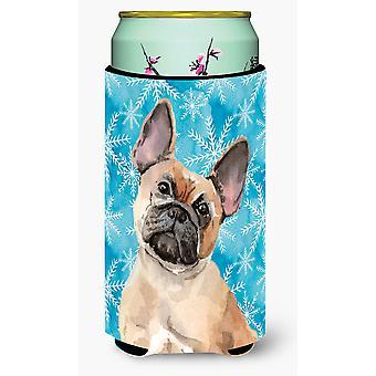 Fawn French Bulldog Winter Tall Boy Beverage Insulator Hugger