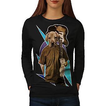 Guitar Labrador musik kvinder BlackLong ærmet T-shirt | Wellcoda