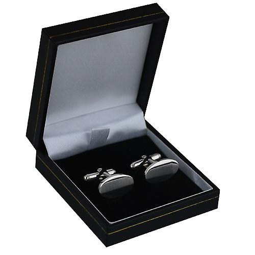 Silver 12x19mm oval plain swivel Cufflinks