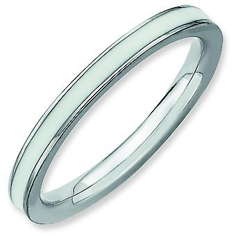Sterling Silver Polished Rhodium-plated Stackable Expressions White Enameled 2.25mm Ring - Ring Size: 5 to 10
