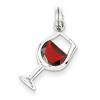 925 Sterling Silver Red Synthetic Cubic Zirconia Wine Glass Charm Pendant