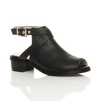 9a32bb43a4e Ajvani womens låg mid block klack peep tå spänne ankel rem stövlar sandaler  skor