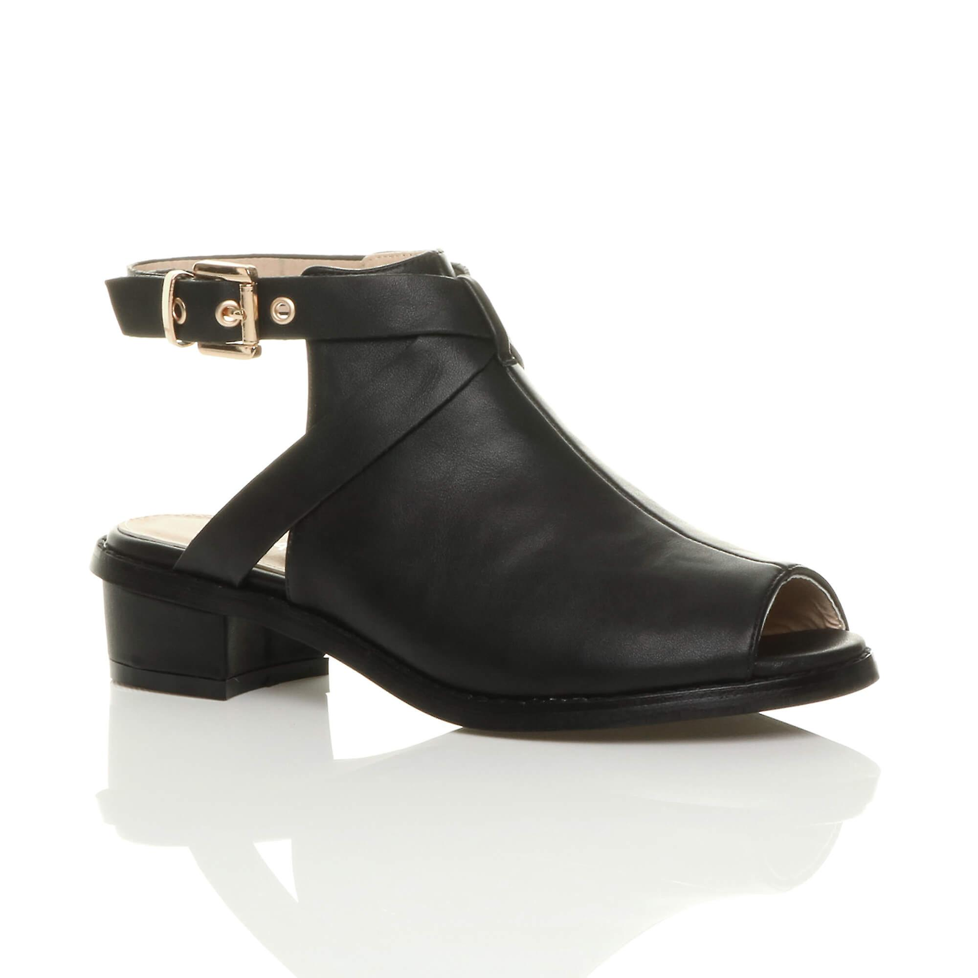 Ajvani womens low mid block heel peep toe buckle ankle strap boots sandals shoes