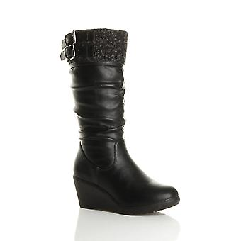 Ajvani womens mid wedge heel contrast knitted cuff buckle zip calf boots