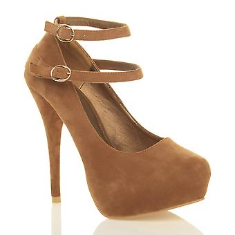 8bb731a652e Ajvani womens high heel concealed platform mary jane double straps buckle court  shoes pumps