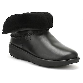 FitFlop Womens Black Leather Mukluk Shorty II Boots