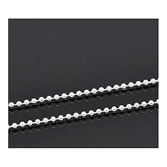 10m x Silver Plated Iron Alloy 1.5mm Closed Ball Chain CH2280