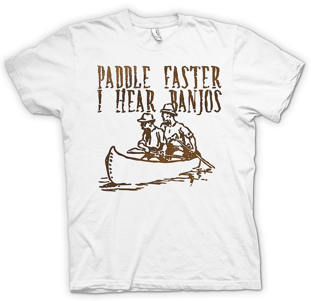 Herr T-shirt-paddla snabbare jag hör Banjos - Funny