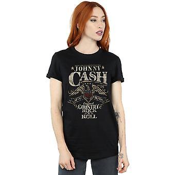 Johnny Cash Women's Country Wings Boyfriend Fit T-Shirt