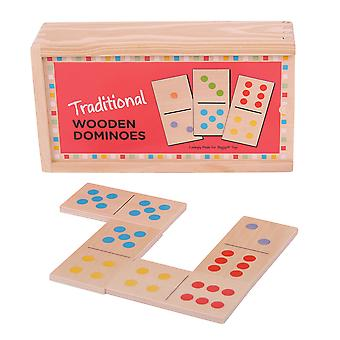 Bigjigs Toys Traditional Wooden Dominoes Games Play Set