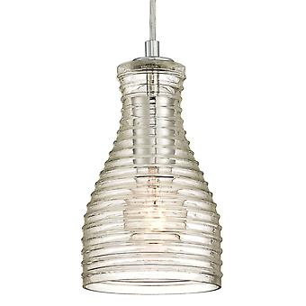 Pendant Chrome with Ribbed Glass and 1 Light
