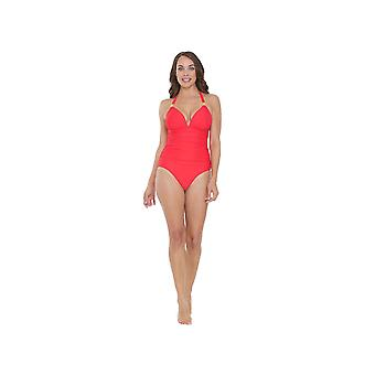 Seaspray SY006480A Women's Coral Orange Solid Colour Costume One Piece Swimsuit