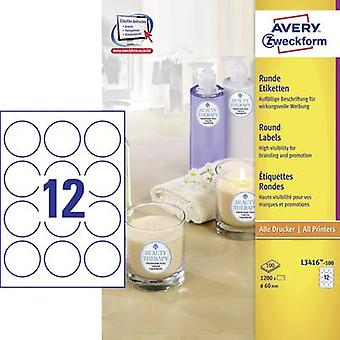 Etiquetas Avery Zweckform L3416-100 Ø 60 mm papel Whi